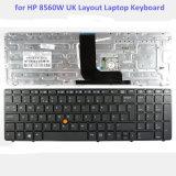 Clavier en gros d'ordinateur portatif de clavier numérique d'ordinateur portatif pour le clavier BRITANNIQUE de disposition de la HP 8560W