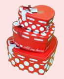 리본을%s 가진 행복한 발렌타인 데이 소형 서류상 선물 Heart-Shaped 상자