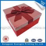 Caixa de presente rígida do cartão do papel cor-de-rosa da cor com decoração do Bowknot