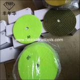 Almofada de polonês seca molhada do gancho & da resina flexível do diamante do laço para o concreto