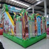 Despedida combinada de la selva animal inflable del patio con la diapositiva (AQ0141)