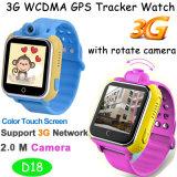 3G le traqueur de montre du WiFi GPS avec 90 déverdissent l'appareil-photo tournant de 2.0m (D18)