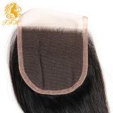 7Aブラジルの直毛4X4のスイスのレースの閉鎖のブラジルのバージンの毛のまっすぐな人間の毛髪の中間またはFree/3部分の上のレースの閉鎖