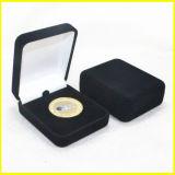 Caixa de papel do Leatherette do quadrado preto para moedas