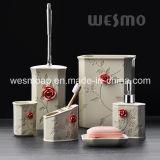Accessori della stanza da bagno di Polyresin con il Embossment Rosa (WBP0263A)
