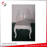 Appuie-glace à la mode Fancy Balcony Hotel Dining Transparent Resin Wooden Chair (GC-02)