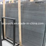 China Polished White Wooden Vein Marble Slab para Pvaing, Countertop