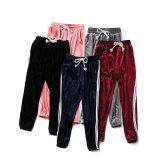 Samt-Kontrast-Streifendrawstring-elastische Taillen-beiläufige Frauen-Form-Hosen