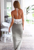 Las tapas ocasionales del cordón 2 pedazos de la alineada fijada de la mujer retroceden el vestir de las señoras de las faldas del traslapo