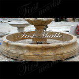 Fontaine d'or de travertin pour la décoration Mf-1043 de jardin