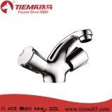 Mezclador de cobre amarillo del lavabo de la maneta de la alta calidad dos (ZS64103)