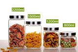 Frasco de vidro quadrado do alimento do tanque de armazenamento dos doces do frasco do vidro selado do frasco