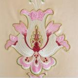 Leder-Gewebe der Polsterung-Halb-PU mit chinesische Art-Stickerei-Blume für Tapete, weiches Kissen