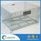 Plegable de almacenamiento de alambre de metal de malla de paletas de jaulas para Almacén