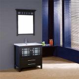 Vaidade de madeira ereta do banheiro do dissipador do assoalho moderno única com espelho