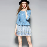 Wathet Blue Floral Printed Women Party Dress com Drawstring
