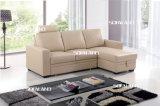 Cuir arrière réglable L sofa de couleur beige de forme