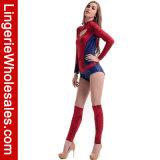 Langes Hülsen-rotes Armkreuz-Mädchen herausgeschnittenes Fehlschlag-Overall-Kostüm des Erwachsenen