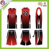 最新のデザインバスケットボールジャージーはロゴの昇華バスケットボールジャージーをカスタム設計する