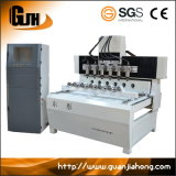 2010-6 3D & 2D máquina Multi-Spindle do router do CNC de 4 linhas centrais