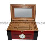 高品質のヒマラヤスギの木製のガラスシガーの保湿箱