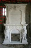Горячие продавая цветки Surround камина высокого качества белые мраморный (SY-MF149)