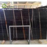 Countertop тщеты края лидирующего мрамора Nero Tunisi черного Polished законченный плоский для ванной комнаты