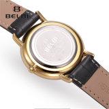 Reloj de cuero simple ocasional neutral de la manera de los hombres y de las mujeres del reloj del asunto de Belbi