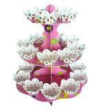 3 de Tribune van Cupcake van de rij die van KringloopMateriaal voor 2012 Chirstmas wordt gemaakt