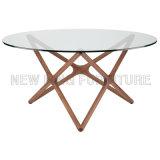 Tableau rond d'étoile de salle à manger de Tableau en verre moderne en métal (NK-DTB059)
