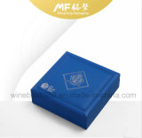 Litchi Leather Elegant MDF Blue Coin Packaging Box