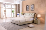 Moderner Entwurffoshan-Hauptmöbel-preiswertes doppeltes ledernes weiches Bett