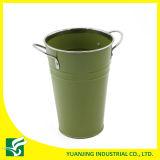Vaso de metal colorido flor de jardinagem com moldura de cromo