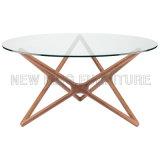 Redonda estrela da tabela de vidro moderna do metal da sala de jantar (NK-DTB059)