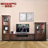 Античный шкаф стойки TV древесины с стеклянными дверями (GSP15-002)