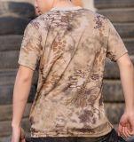 Maglietta 100% di Camo della stampa del pigmento del cotone