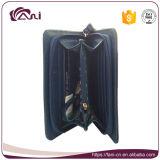 Raccoglitore di cuoio poco costoso all'ingrosso delle donne del sacchetto del raccoglitore della chiusura lampo del quadrato del raccoglitore dell'unità di elaborazione