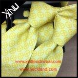 Gravata de gravata de moda impressa 100% seda feita à mão para homens
