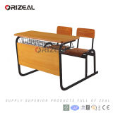 Muebles dobles de una pieza de la sala de clase de la escuela primaria para el vector y la silla de los estudiantes