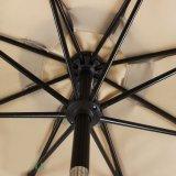 Parapluie en aluminium du marché extérieur de 9 pi avec 8 côtes et évents en acier de vent, polyester 100%, beige