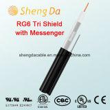 Tri-Blindaje RG6 con el mensajero cable coaxial de interior o al aire libre de 75 ohmios