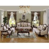 Il sofà classico del tessuto dello strato di amore della presidenza antica classica della sede ha impostato con il blocco per grafici di legno per il salone