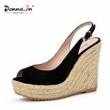 (Donna-в) сандалии женщин клина веревочки замши малыша способа
