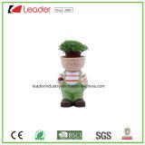 Polyresin nueva niña encantadora estatuilla con maceteros para la decoración del jardín