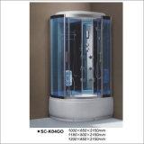 Compartimento luxuoso de canto reversível do chuveiro da caixa da massagem do vidro Tempered da forma oval