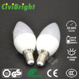 bulbo caliente ligero del blanco LED de la luz E27 LED de la vela de 6W LED