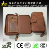Unité centrale de offre de qualité dépliant en cuir de pochette de portefeuille de tirette