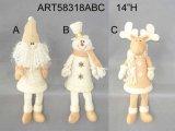 Regalo fornito di gambe di natale del pupazzo di neve della Santa della molla con la mano di lusso Embroidery-2asst.