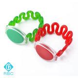 Wristband impermeável colorido plástico da cinta de pulso da mola para a gerência