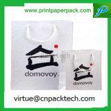 A annoncé le sac de achat estampé blanc de papier d'emballage avec n'importe quel logo